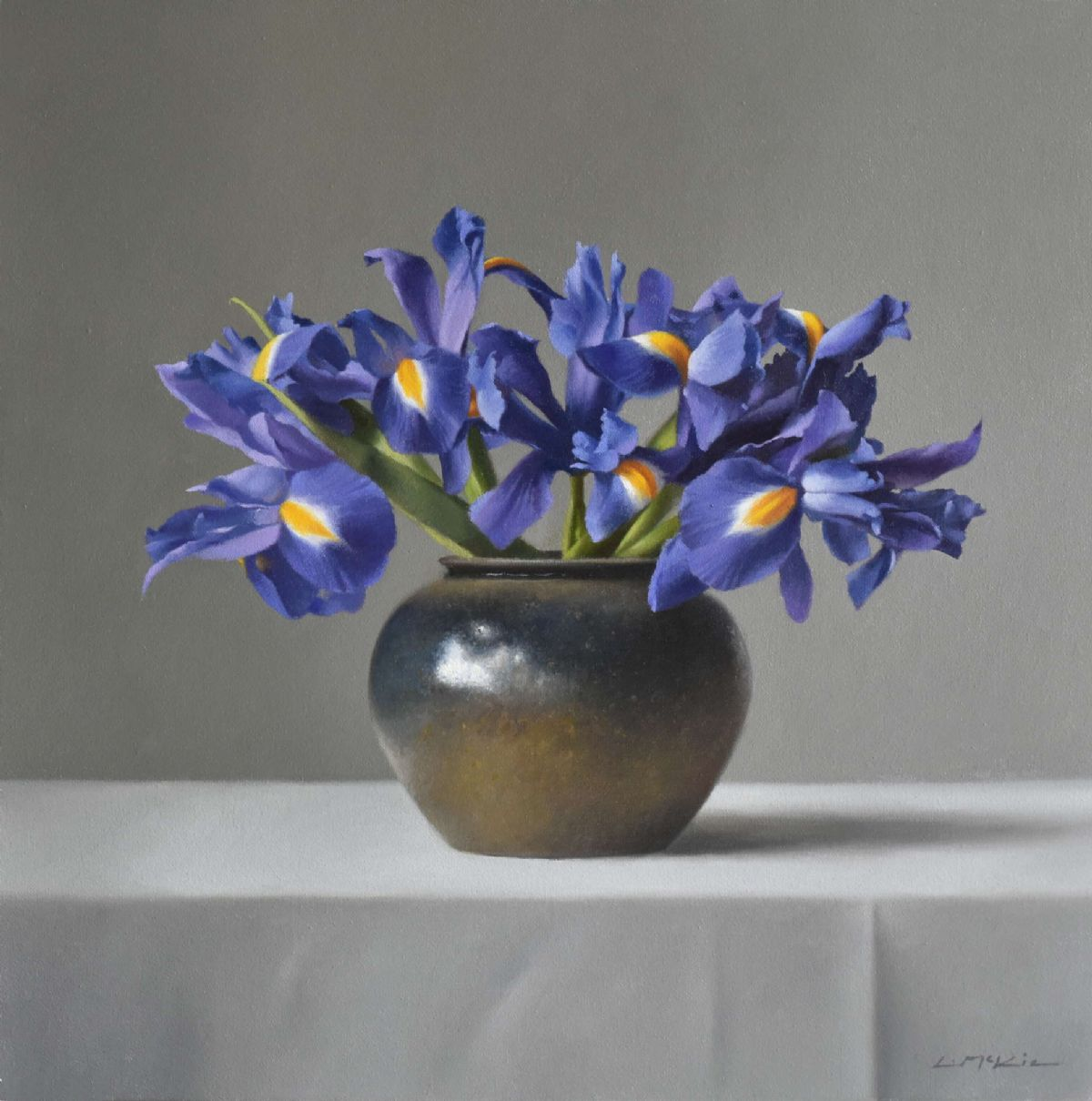 Stoneware jar with Irises