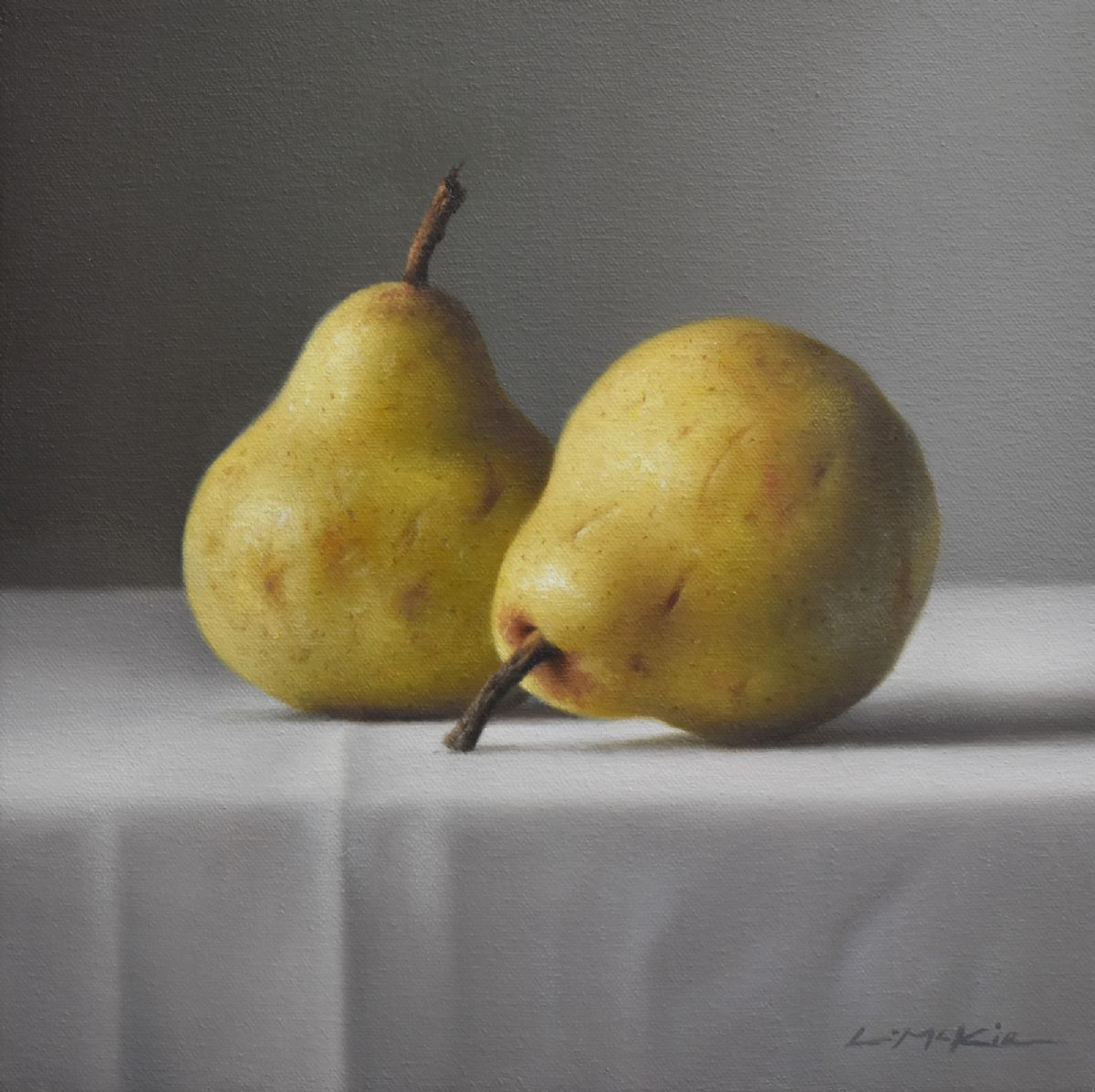 Two Pears on White Cloth